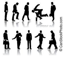 silhouettes, vektor, affärsmän, tio