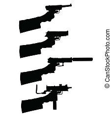 silhouettes, vektor, gevär, holdingen