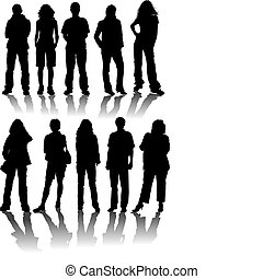 silhouettes, vektor, man, kvinnor