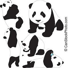 silhouettes, vektor, panda, barnen