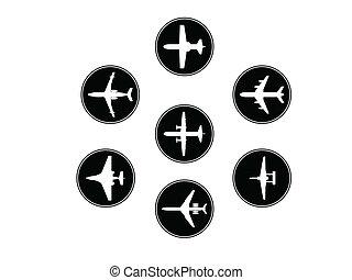 silhouettes., verschieden, vektor, motorflugzeug, sammlung