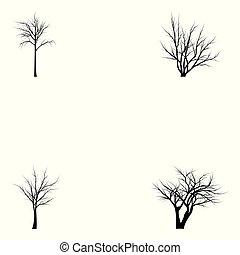 silhouettes, verzameling, bomen