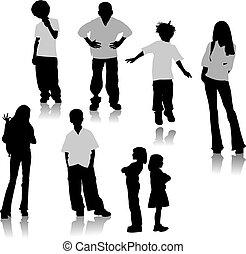 silhouettes., vettore, bambini, illustrazione