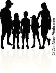 silhouettes., vettore, famiglia, work.