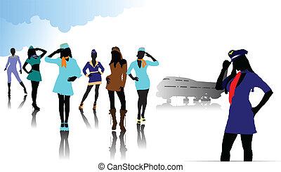 silhouettes., vettore, hostess, illustrazione