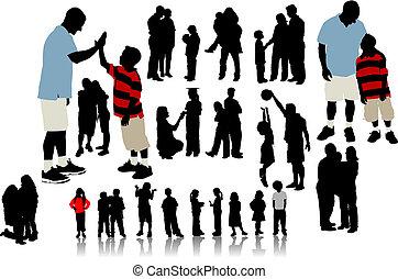 silhouettes., vettore, illustrazione, bambini