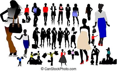 silhouettes., vettore, illustrazione, donne