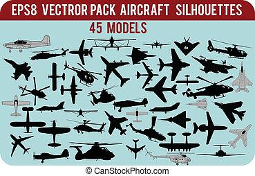 silhouettes, vliegtuigen
