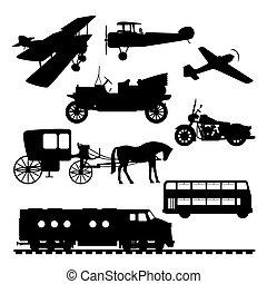 silhouettes, voertuigen