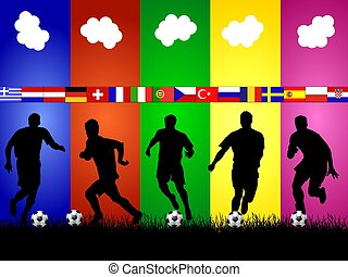 silhouettes, voetbal, achtergrond, europeaan