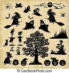 silhouettes, voorwerpen, halloween, onderwerpen