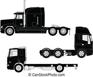 silhouettes, vrachtwagen