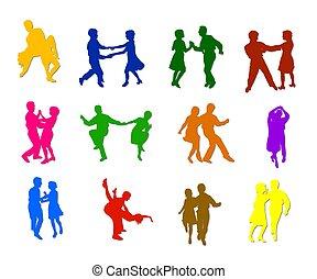 silhouettes, vrijstaand, dancing