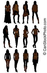 silhouettes, vrouw