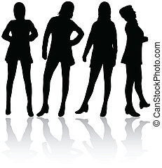 silhouettes, vrouwen