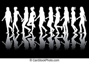silhouettes, vrouwen