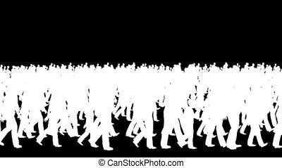 silhouettes, wandelende, menigte, lus