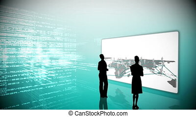 Silhouettes watching global business community clips on blue...