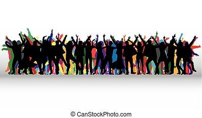 silhouettes., wektor, taniec, work., ludzie