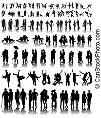 couples - Silhouettes with  shadows of couples, vector