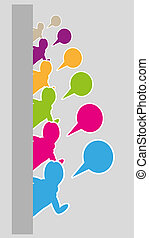 silhouettes with speak bubble - many silhouettes from side...