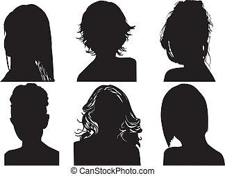 silhouettes, womens, huvuden