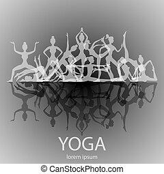 silhouettes, yoga, ensemble