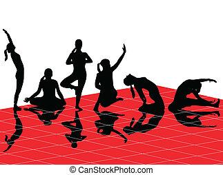 silhouettes, yoga
