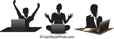 Silhouettes young business woman