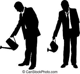 silhouettes, zakenlieden, sprinkler