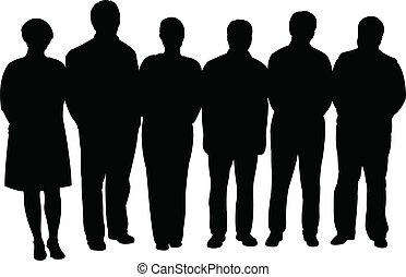 silhouettes, zakenlui