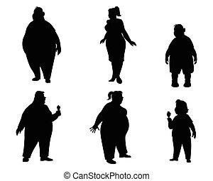 silhouettes, zes, dik, mensen