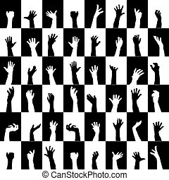 silhouettes, zwarte achtergrond, handen, witte , pleinen