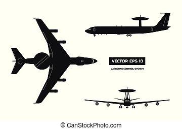 silhouettet, warnung, aircraft., zerstreut, ansicht., ...