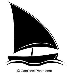silhoutte, jelkép, fekete, csónakázik