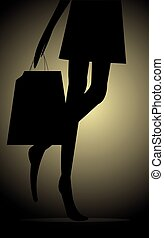 Silhoutte of shopping woman