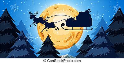 Silhoutte of sleigh night scene illustration