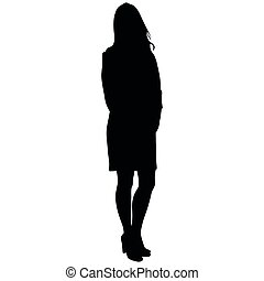 silhoutte of standing woman in short dress on white...