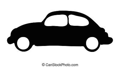 silhuet, automobilen, vektor, symbol, ikon, design.