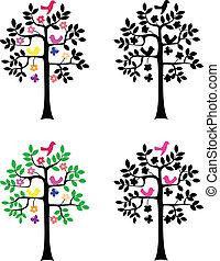 silhuet, baggrund, træ, hvid