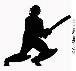 silhuet, cricket, sport, -, batsman