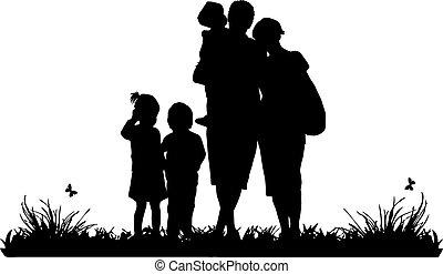 silhuet, familie