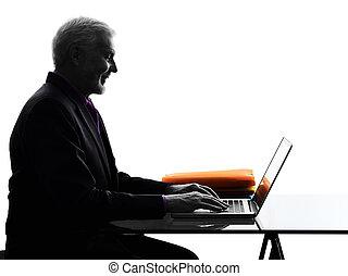 silhuet, firma, computing, senior, smile mand