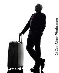 silhuet, firma, rejse, rejsende, senior mand