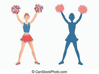 silhuet, hende, baggrund., pom-poms, cheerleader, hvid