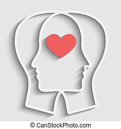 silhuet, i, anføreren, hos, hjerte, symbol