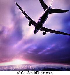 silhuet, i, en, flyvemaskine
