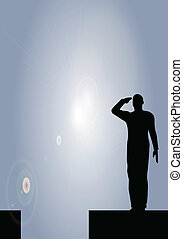 silhuet, i, en, hær, soldat, salut