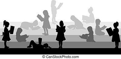 silhuet, i, en, pige læse, en, book.