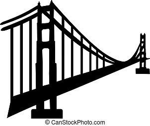 silhuet, i, gylden låge bro
